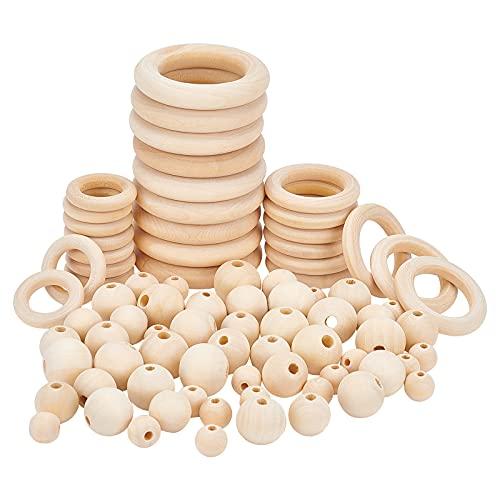 PandaHall 120 cuentas de madera natural de 12/16/18/20 mm con 30 anillos de madera de macramé de 30/40/55 mm, círculos para colgar en la pared de macramé, kit de bricolaje