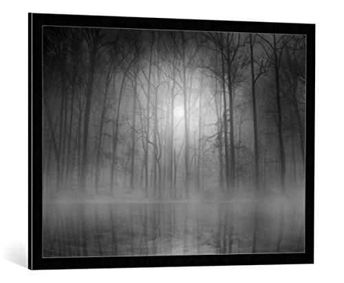 kunst für alle Bild mit Bilder-Rahmen: Beth Lutz Morning Mist - dekorativer Kunstdruck, hochwertig gerahmt, 95x70 cm, Schwarz/Kante grau