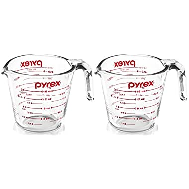 Pyrex 6001075 6001075-2 Prepware 2 Glass Measuring Cup (Pack of 2), Red Marking