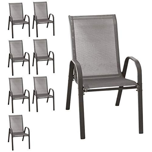 Wohaga® 8er Set Stapelstuhl 'New York', Textilenbespannung Anthrazit, Stahlgestell pulverbeschichtet, stapelbar, Gartenstuhl
