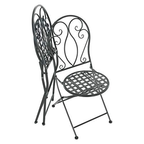 Raburg 2er Set Gartenstühle Mayla in SCHWARZ - Deko-Metall Klappstuhl Set im nostalgisch, antikem Design