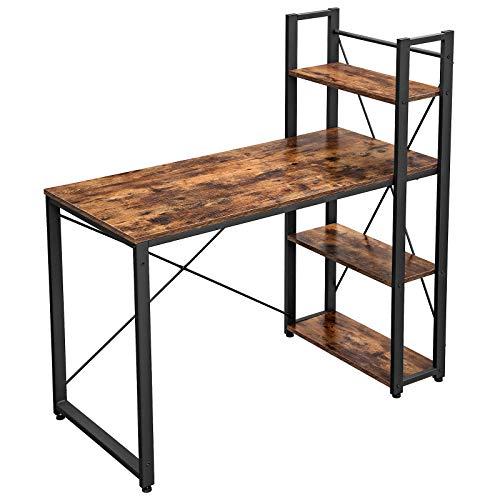 VASAGLE Schreibtisch, 120 cm Langer Computertisch mit Regalböden rechts oder Links, Bürotisch, Arbeitszimmer, Homeoffice, einfache Montage, stabil, Industrie-Design, vintagebraun-schwarz LWD48X