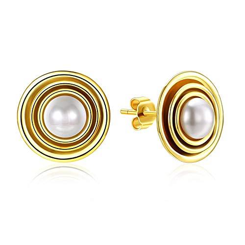 JY Joyas de novedad - Pendientes de plata esterlina para mujer Pendientes de botón con perlas de imitación de perlas de círculo dorado