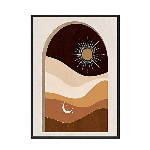 Cartel de la impresión del arte de la pared de la vista de la montaña del estilo boho pintura de la lona decorativa sin marco abstracta del hogar C 50x70cm