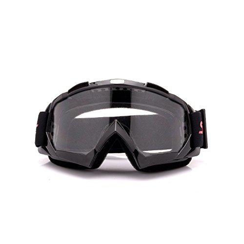 HEDC Gafas de motocrós Multicolor Gafas de Motocicletas Gafas Motorbike Gafas Adornos Racing Racing Ski Intercambiables Adultos antirrense 21-324 (Color : Black Transparent)