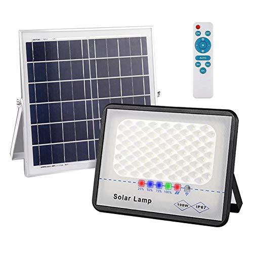 Aokson LEDソーラー投光器 フラッドライト 100W 分離型ソーラーライト 屋外 センサーライト 夜間自動点灯 12000mAh超大電池容量 5Mコード付き IP67防水 6000Kソーラーセーフティライト 調光可 定時機能 リモコン付き、納屋、ガ