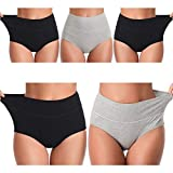 UMMISS Womens Panties, Soft Cotton Solid High Waist Tummy Control Breathable Underwear Brief,Multi,L by VC