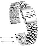 Kai Tian Correas Reloj de Acero Inoxidable de 20mm Para Hombre Mujer Pulsera de Reloj de Metal Cierre de Buzo Plata