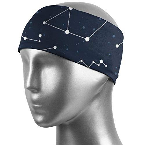 Verctor Sport Stirnbänder, Sternbilder Cassiopeia Durable Workout Stirnbänder rutschfeste elastische breite Turban Schweißbänder