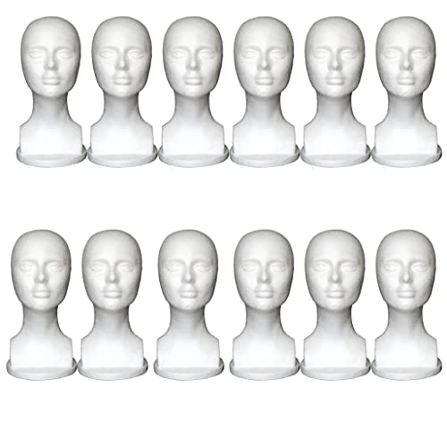 TANGNADE 12 Inch Styrofoam Female Model Heads Hat Wig Glasses Foam Mannequin For Glasses Shop, Hair Salon, Jewelry Display, Hat Display, Head Color Depiction (12PC)