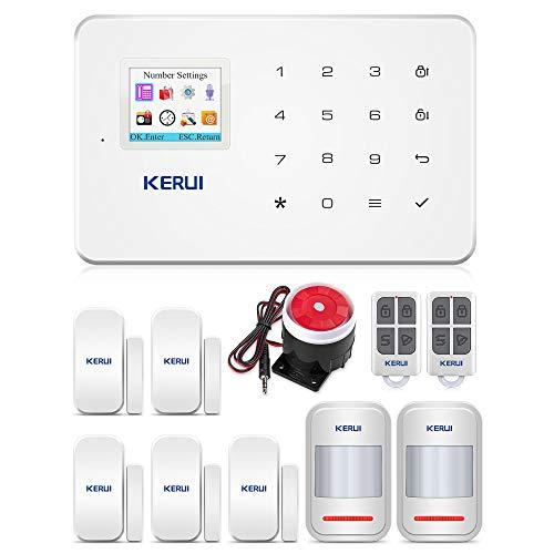 KERUI G18 Sistema Alarma gsm(NO WiFi) Inalámbrico Control Remoto por Call/SMS/App - Kit Alarma Antirrobo Casa DIY con Sensor Puerta/Detector Movimiento PIR/Mando a Distancia para Hogar/Tienda/Garaje