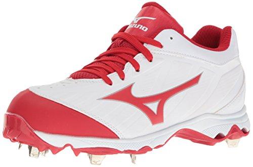 Mizuno Damen 9-Spike Advanced Sweep 3 Softball-Schuhe, Weiß/Rot, 36 EU