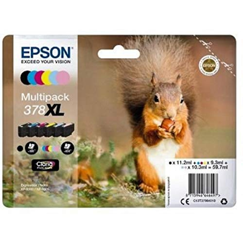 Epson Original 378XL Tinte Eichhörnchen XP-8500 XP-8600 XP-8605, Amazon Dash Replenishment-fähig (Multipack, 6-farbig)