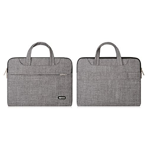 Qishare 11,6-12 Pulgadas Multifuncional portátil Hombro Bolsa maletín portátil de Ordenador portátil Caso Portador de la Ordenador portátil Messenger Caso(11,6-12 Pulgadas,Líneas Grises)