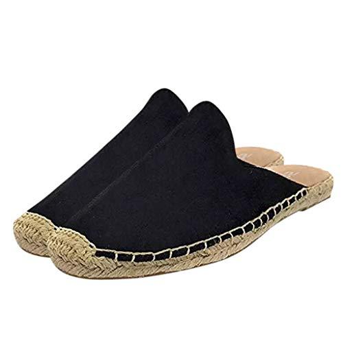 Lulupi Sabot da Donna Espadrillas 2020 Estivi New Sandali Donna Flat Ciabatte Nere Bohemian Scarpe da Spiaggia Antiscivolo