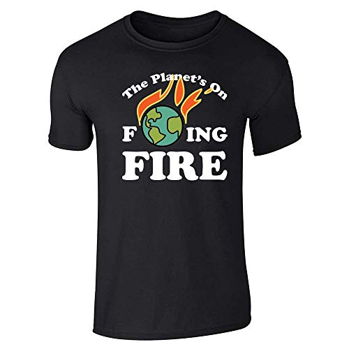 The Planets On Fing Fire Climate Change Funny Black L Graphic Tee T-Shirt for Men