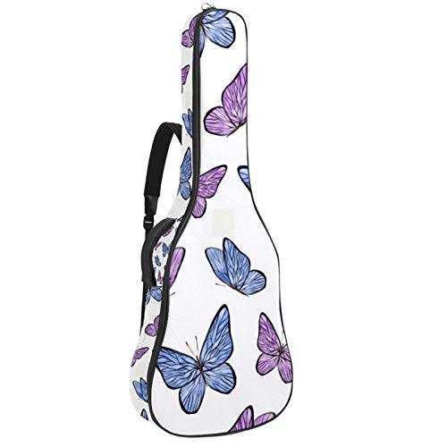 Bolsa para guitarra con diseño de mariposas, color morado, funda de transporte...
