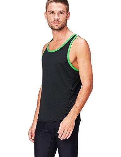 Activewear Mesh Camiseta Deportiva para Hombre, Schwarz (Black/Apple Green), Medium