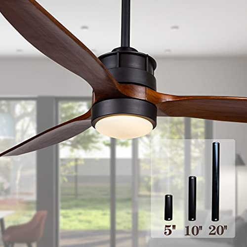 52 Inch Outdoor Black Ceiling Fan with Lights and Remote Control for Farmhouse/ Patios, 3 Walnut Wood Blades, 3 Downrod Included