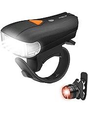 自転車ライト 自転車前照灯 Vkaiy USB充電式 LEDヘッドライト 5点灯モード 高輝度 IP65防水 テールライト付 コンパクト 軽量 日本語説明書