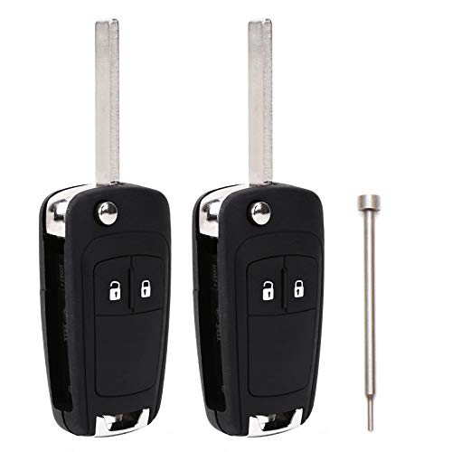 SurePromise 2 x 2 Button Remote Flip Foldable Key Fob Shell Case Replacement Uncut Blade with Removal Tool Pin