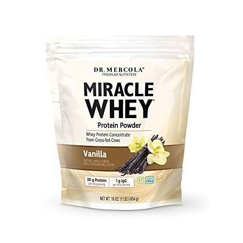 Dr. Mercola, Miracle Whey Vanilla Protein Powder, 1 lb (454 g), Whey Concentrate, Natural Sweeteners, Non GMO, Soy Free, Gluten Free