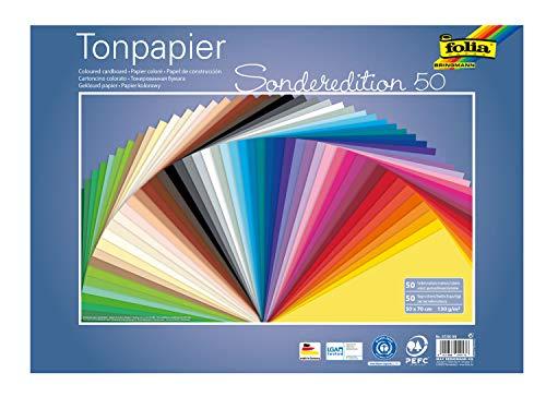folia 67/50 99 - Tonpapier Mix, ca. 50 x 70 cm, 130 g/m², 50 Blatt sortiert in 50 Farben, zum Basteln und kreativen Gestalten von Karten, Fensterbildern und für Scrapbooking