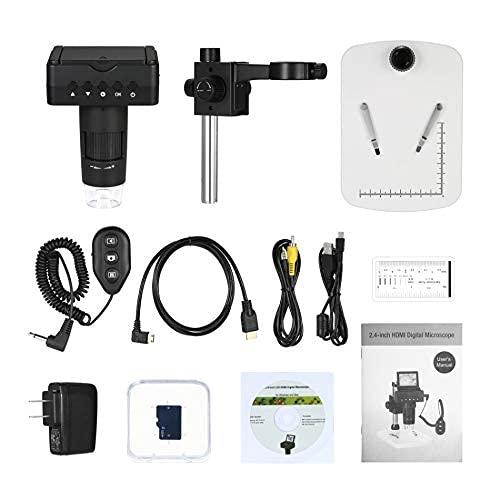 10X-220X Digitalmikroskop 2,4' LCD 1080P Voller HDMI HDMI/AV/USB-Ausgang 3.0MP LED-Lupe mit verstellbaren Ständerwerkzeugen (Farbe: US-Stecker)
