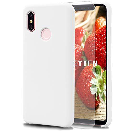 Feyten Funda Xiaomi Mi 8 [Cristal Vidrio Templado], Slim Líquido de Silicona Gel Carcasa Anti-Rasguño Protectora Caso para Xiaomi Mi 8 (Blanco)