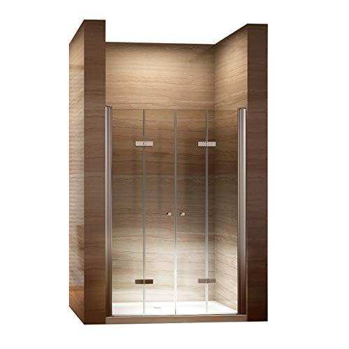 i-flair Falttüren, Verstellbereich von 72-76 cm, Duschtüren mit 6mm nanobeschichtetem Sicherheitsglas