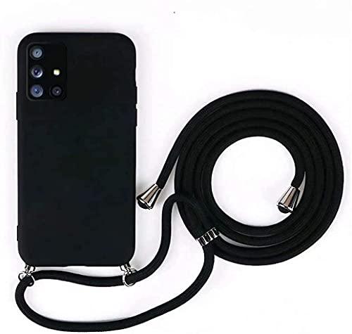 Funda con Cuerda para iPhone 6/6S Negro ,Carcasa Suave Silicona Case con Correa Colgante Ajustable Collar Correa de Cuello Cadena Cordón