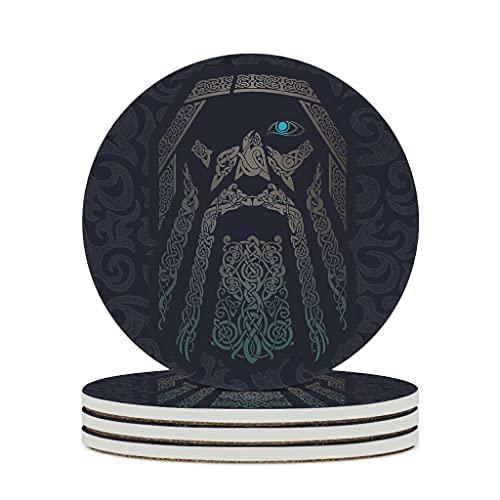 Relaxident Posavasos de cerámica Odin Viking Texture Tótem de cerámica de primera clase personalizado de moda – taza de té posavasos se adapta al aire libre blanco 6 piezas