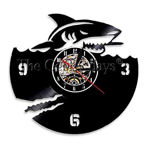 Orologio in Vinile Scary Shark Vinyl Record Clock Jaws Clock Atmosphere Orologio da Parete per Amante degli Animali dell'Oceano Wall Art Gift (12' 30cm)