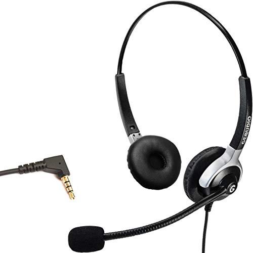 GEQUDIO Headset mit 3,5mm Klinke geeignet für Fritz!Fon C6, MT-F, Snom M-Serie, Yealink-DECT, Handy mit Kabel, 80g leicht