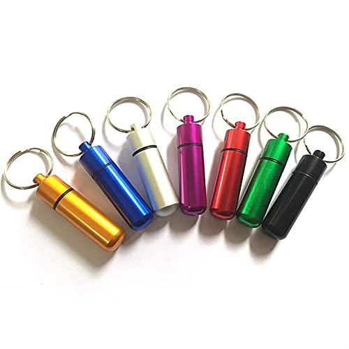 LJLWX Outdoor-Werkzeuge Survival wasserdichte Pillen Box Medikamentenbehälter Aluminium Medizin Flasche Schlüsselanhänger Tragbare Außenpillen Lagerhalter Einfach zu...