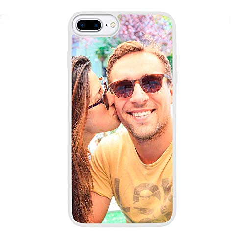 APRIL Funda Personalizada rígida Bordes Blanco iPhone 5 5S 6 Plus 6S Plus 7 8 X con la Foto y el Texto Que Quieras (iPhone 8 Plus)