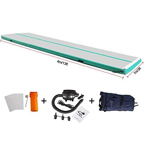 EZ GLAM Air Mat Inflatable Gymnastics Tumbling Track Mat with Air Pump Cheerleading mats for tumbling/Practice Gymnastics/Beach/Park/Home use(20ftx3.3ftx8in(6x1x0.2m), Llight Green-L)