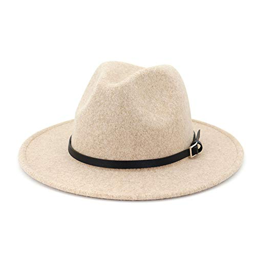 Lisianthus Womens Classic Wool Fedora with Belt Buckle Wide Brim Panama Hat A-Beige