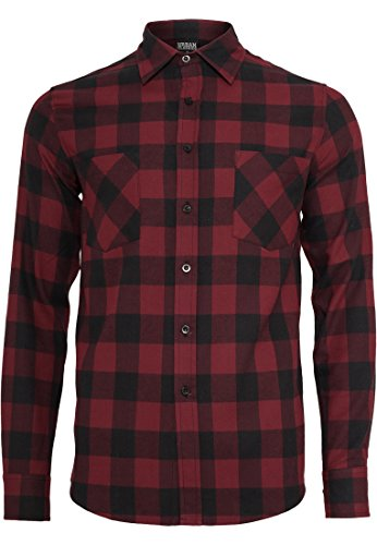 Urban Classics Checked Flanell Regular Fit Freizeit Hemd Camicia, Multicolore (Blk/Burg), S Uomo