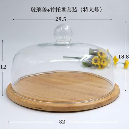 Retro houten taart plaat glazen deksel Dessert tafel Display Stand lade Home keuken decoratie feestelijke partij, XL