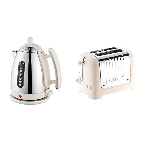 Dualit Lite Kettle | 1.5 L 2.4 kW Jug Kettle & 2 Slice Lite Toaster | 1.1kW Toasts 60 Slices an Hour | Polished with Canvas White Trim | Bagel & Defrost Settings | 36 mm Wide Slots | 26213