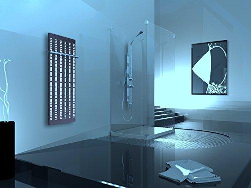 Badheizkörper Design broken Mirror 2, HxB: 120 x 47 cm, 799 Watt, weiß/moonstone-grau + 1 Handtuchhalter (15x15mm) (Marke: Szagato) Made in Germany/Bad und Wohnraum-Heizkörper (Mittelanschluss)