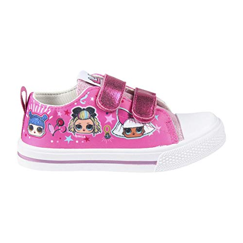 L O L Surprise! | Zapatos De Niña | Zapatillas De Diseño Ligero | Escuela | Casual | Zapatos De Moda | Deportivas Bajas Fucsias | Velcro | EU 30 |