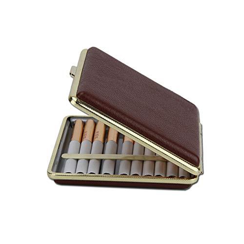 HengXIANG sigarettenetui, 20 of meer, van metaal, ultradun, met vochttransport, EA Prova-keurmerk, zacht, deksel van sigaret, cadeau, zwart