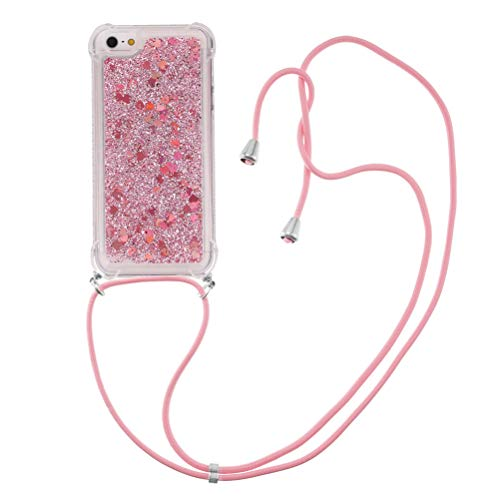 COTDINFORCA Compatible with iPhone 5S Custodia Bling Liquid Cases Glitter Sparkle Floating Silicone Shockproof Phone Cover per Phone 5 / 5S Case Lanyard TPU Rose Love YB.