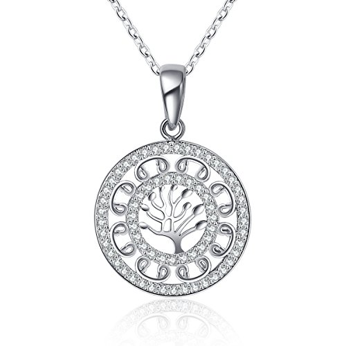"Rhodium Plated Tree Of Life Pendant Necklace Cubic Zircon For Family Gifts Include 18"" Chains"