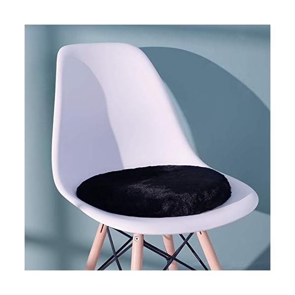 Shinnwa Round Dorm Chair Cushion Pad with Furry Faux Fur Cover