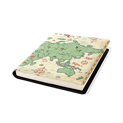 COOSUN Colorful Ancient World Map Book Cover Sox Stretchable Livre, La Plupart des Fits Relié jusqu'à 9 manuels x 11. adhésif Gratuit, PU Leather School Book Protector 9 x 11 Pouces Multicolore
