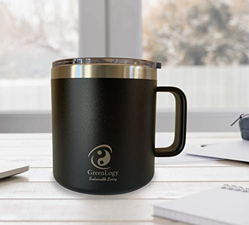 GreenLogy 14 oz Mug, Powdered Coated Stainless Steel, Vacuum Insulated with Standard Lid (Black)