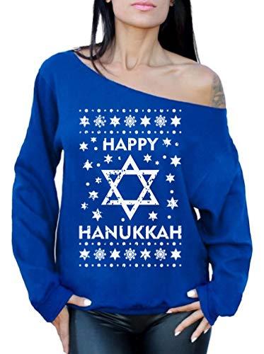 Awkward Styles Happy Hanukkah Off Shoulder Sweatshirt Women's Hanukkah Sweater Blue L/XL
